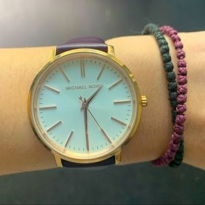 Michael Kors Leather Watch - Purple and Rose Gold